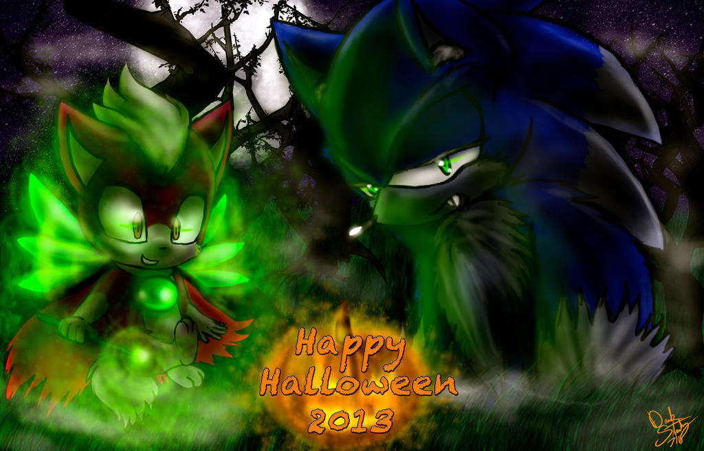 Sonic and Chip Says Happy Halloween 2013 by DarkStarling716