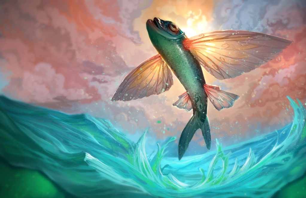Flying fish by gaberamos on deviantart for Flying fish drawing