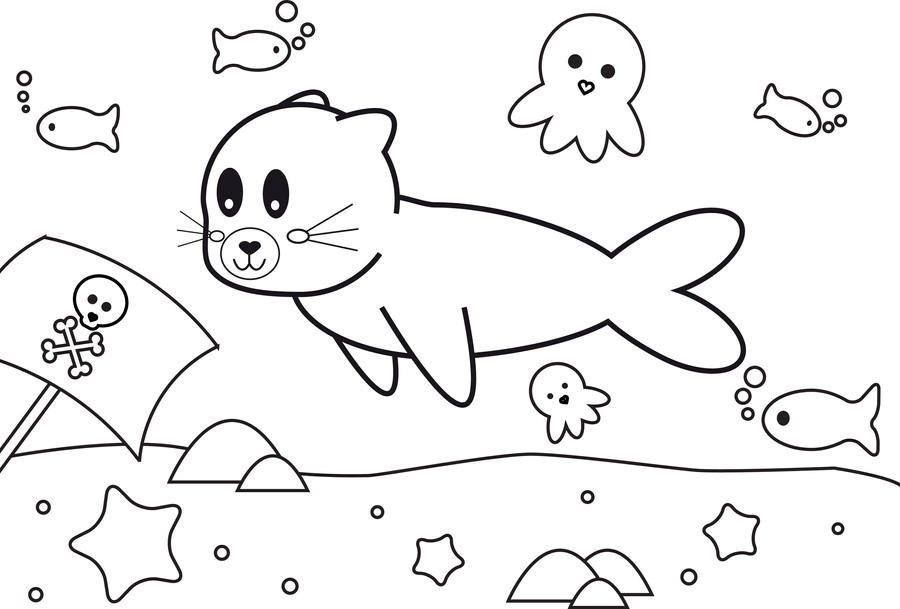 Cute Seal Coloring Pages