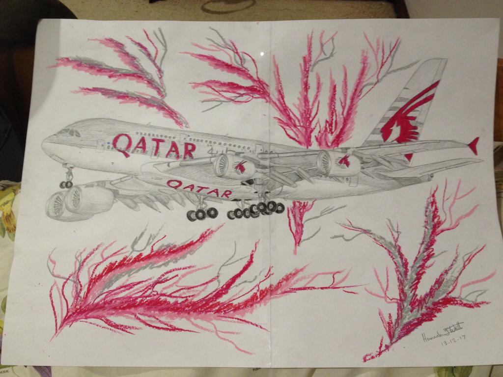 Qatar Airways Airbus A380-800 drawing by HeavyMetal747 on DeviantArt