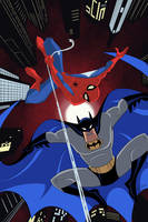 Batman and Spider-man Cover Animated Style  by Tyraknifesaurus