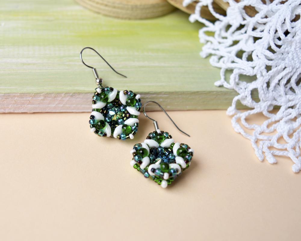 White, Green, Teal Earrings by borysbrytva