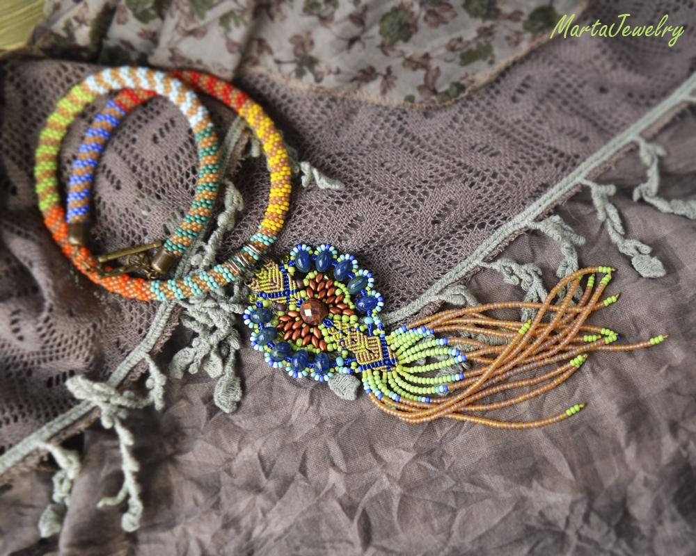 Colorful Bead Crochet Necklace and Macrame Pendant by borysbrytva