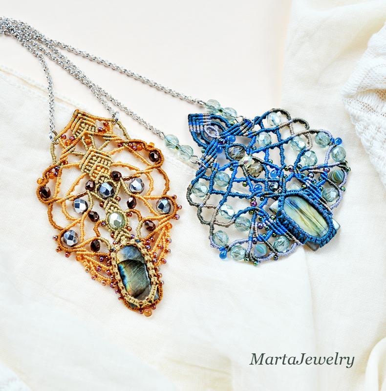 Macrame Necklaces with Labradorites by borysbrytva