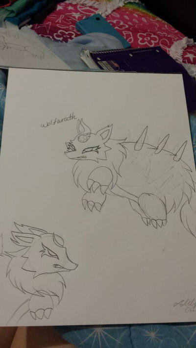 my drawing of wolfwrath  by cutelittlepikakitty