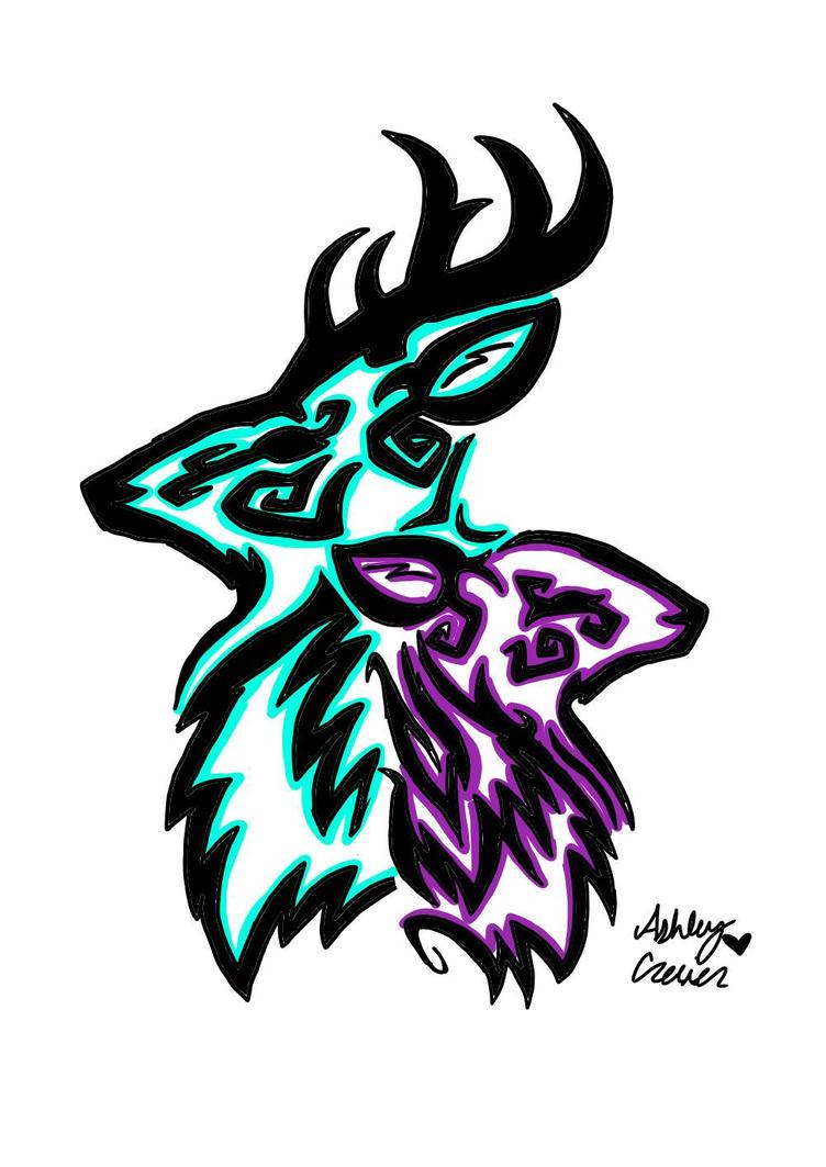 Buck Doe Tribal Art  by cutelittlepikakitty