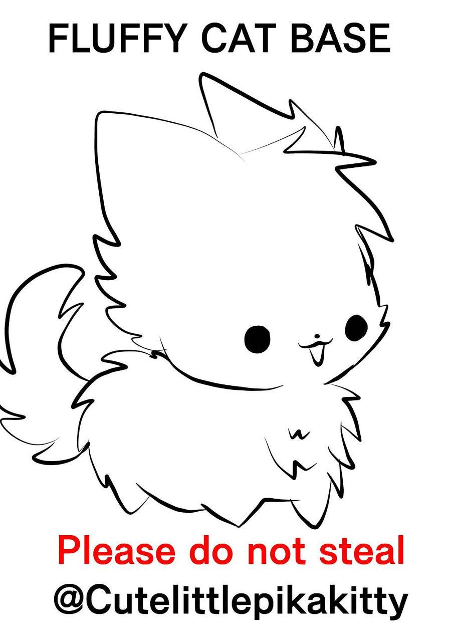 Fluffy cat base  by cutelittlepikakitty