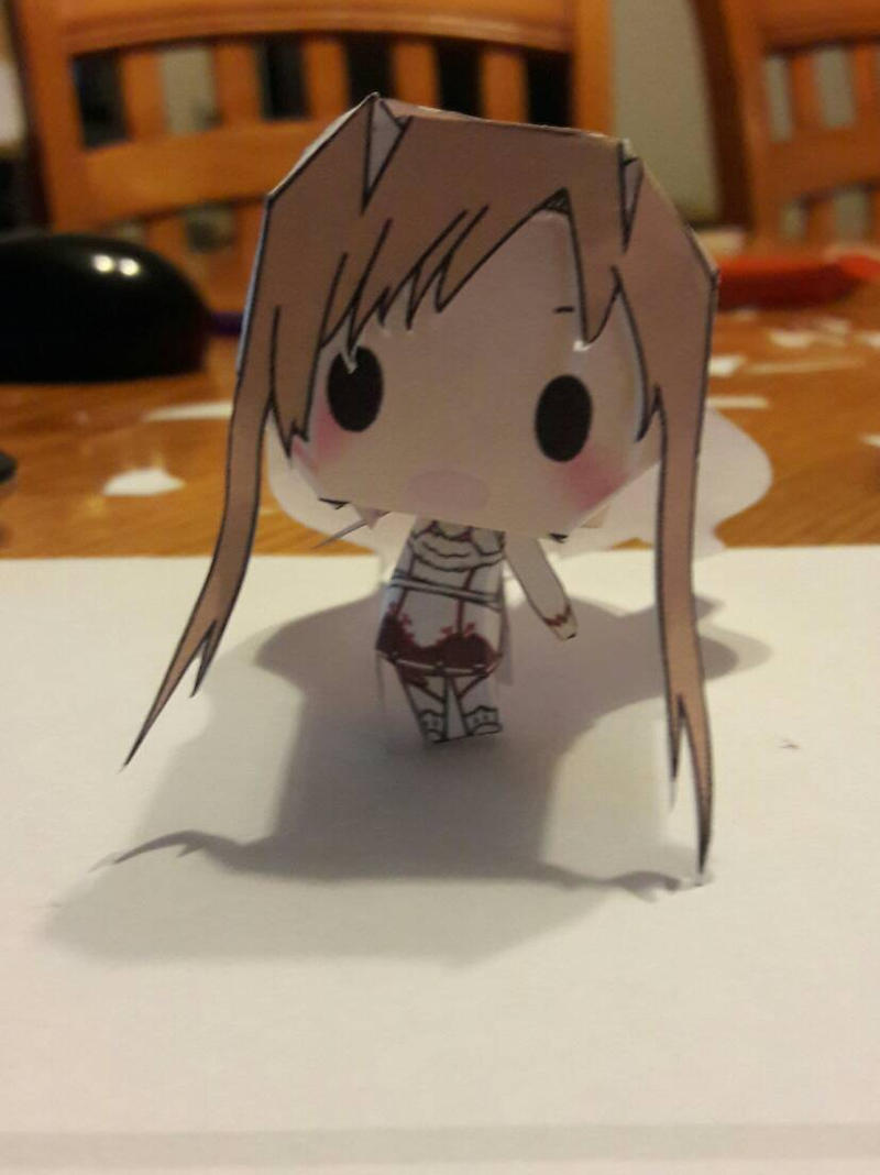 My first paper craft of Asuna Yuuki by cutelittlepikakitty