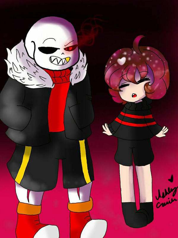 Underfell Frisk and Sans by cutelittlepikakitty
