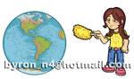 Nina que limpia al mundo