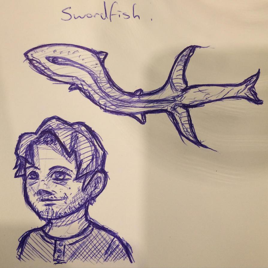 2015-07-22 - Cartoon Selfie and Swordfish by Pencil-X-Paper