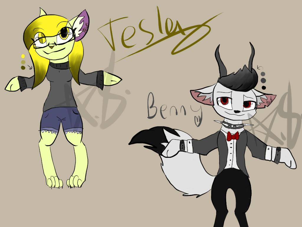 Benny and Tesla oc ref sheet!! (OLDERTESLA) by KkandyKrystals