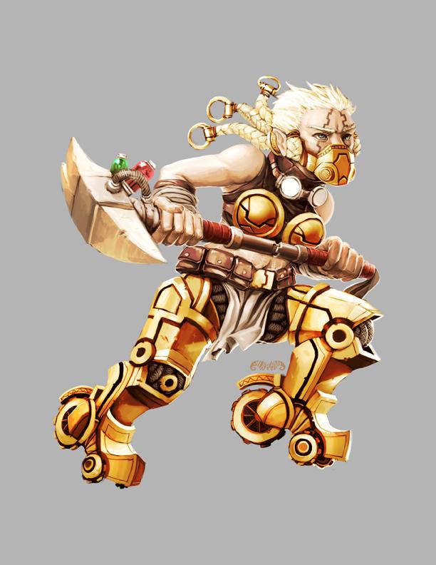 Legendary Games - Cyborg FemaleBarbarianDwarf by yuikami-da