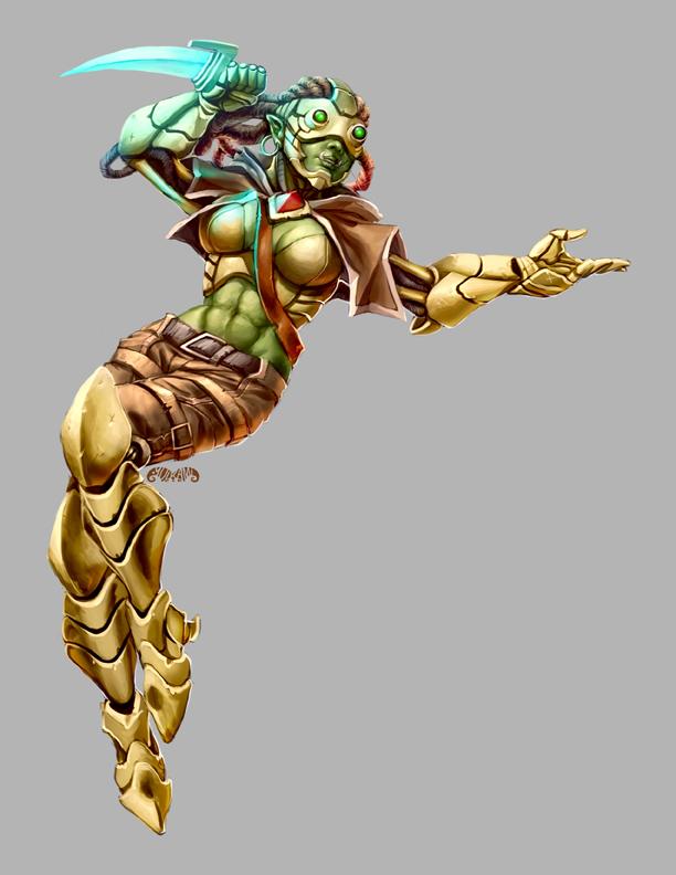 Legendary Games - Cyborg FemaleHalfOrcRogue by yuikami-da