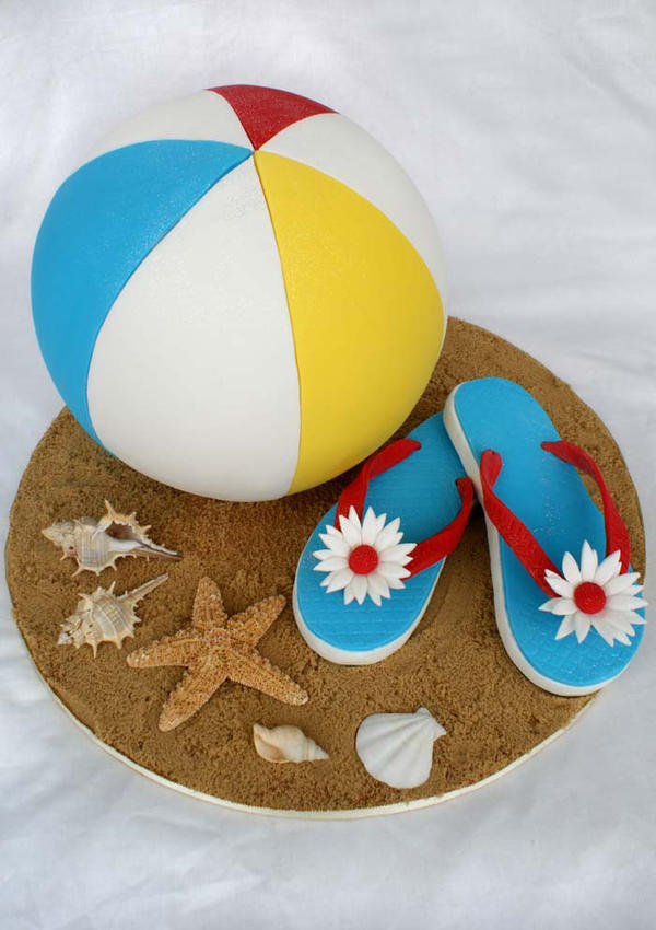 Beach Ball and Tongs Cake by Verusca on DeviantArt