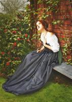 Woman sitting in a garden by vlacruz