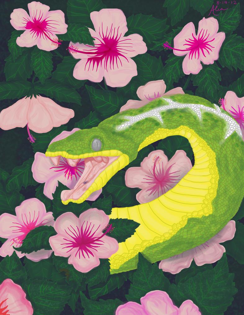 http://th07.deviantart.net/fs70/PRE/i/2012/232/9/7/serpent_under_the_flowers_by_minxfox-d5buq7r.jpg