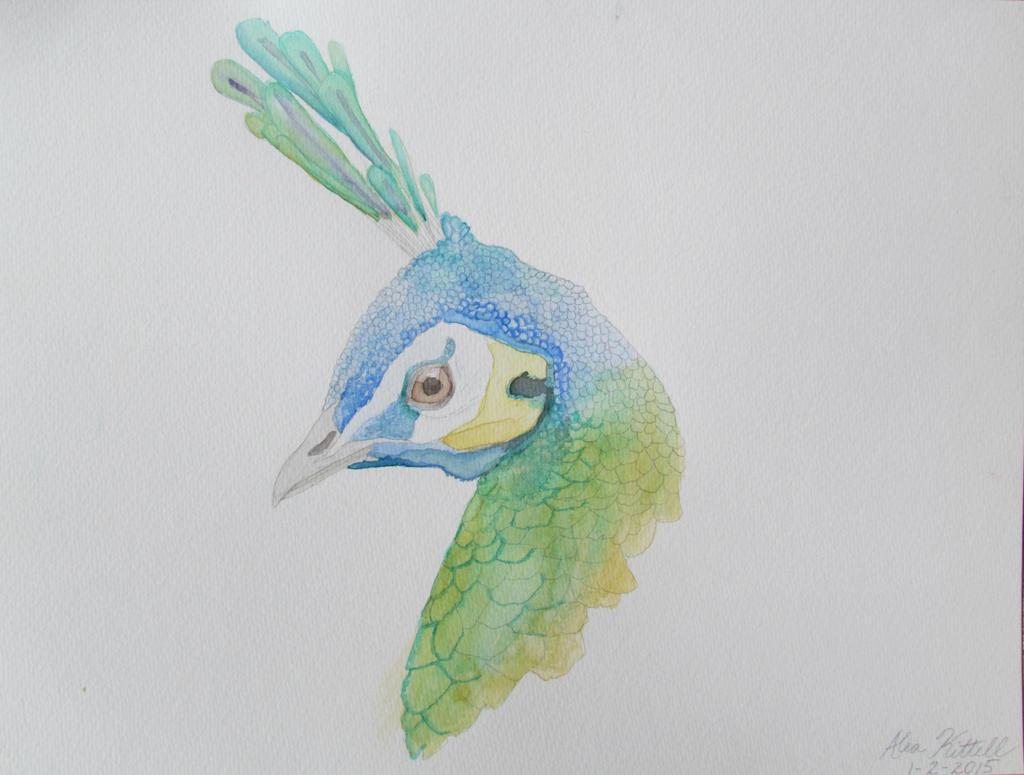 Green Peahen Portrait by MinxFox