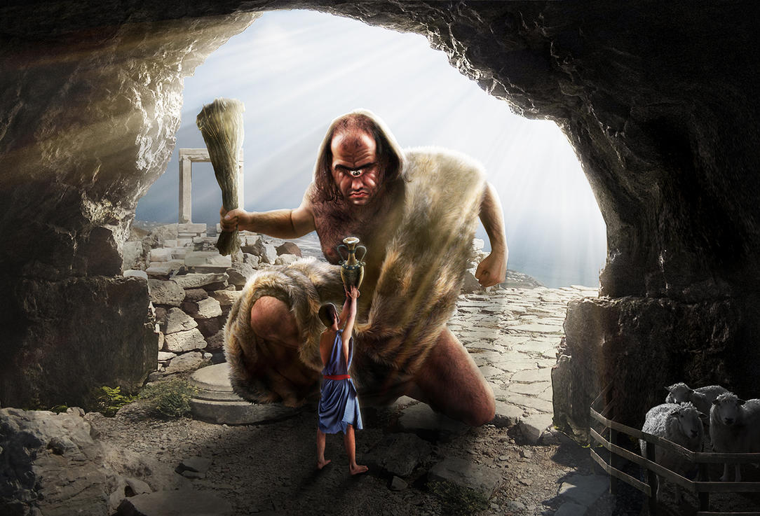 Odysseus and Polyphemus by 2HeadedMonster