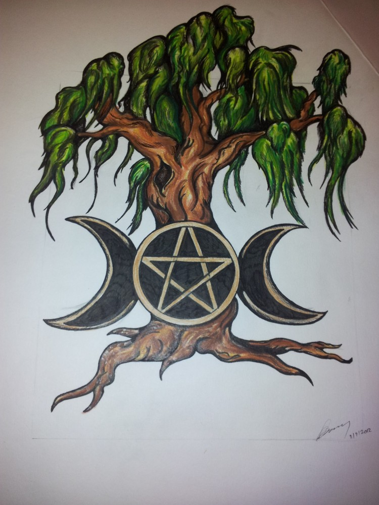 willow tree and pentacle tattoo design by valkyriestears on deviantart. Black Bedroom Furniture Sets. Home Design Ideas