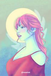 Woman Portrait in Unicorn Color Palette