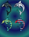 [OPEN 3/4] Fractal skeleton dolphins 55pt by Revenade
