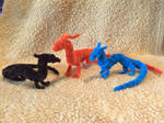 Two Minis and a Basic Orange Pipecleaner Dragon by xX-Wolvenhyde-Xx