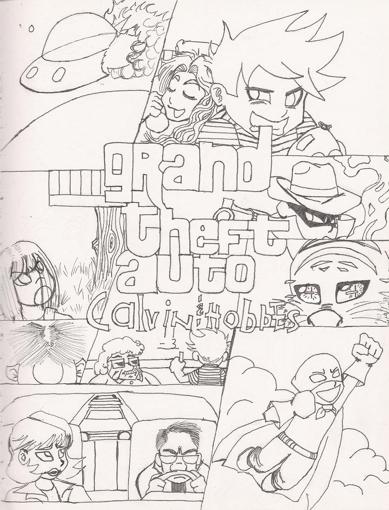 Grand theft auto calvin and hobbes sketch by for Calvin and hobbes coloring pages