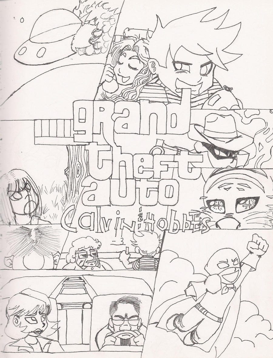 grand theft auto calvin and hobbes sketch by anonthedarkone on deviantart Classic Muscle Car Coloring Pages  Grand Theft Auto Coloring Pictures