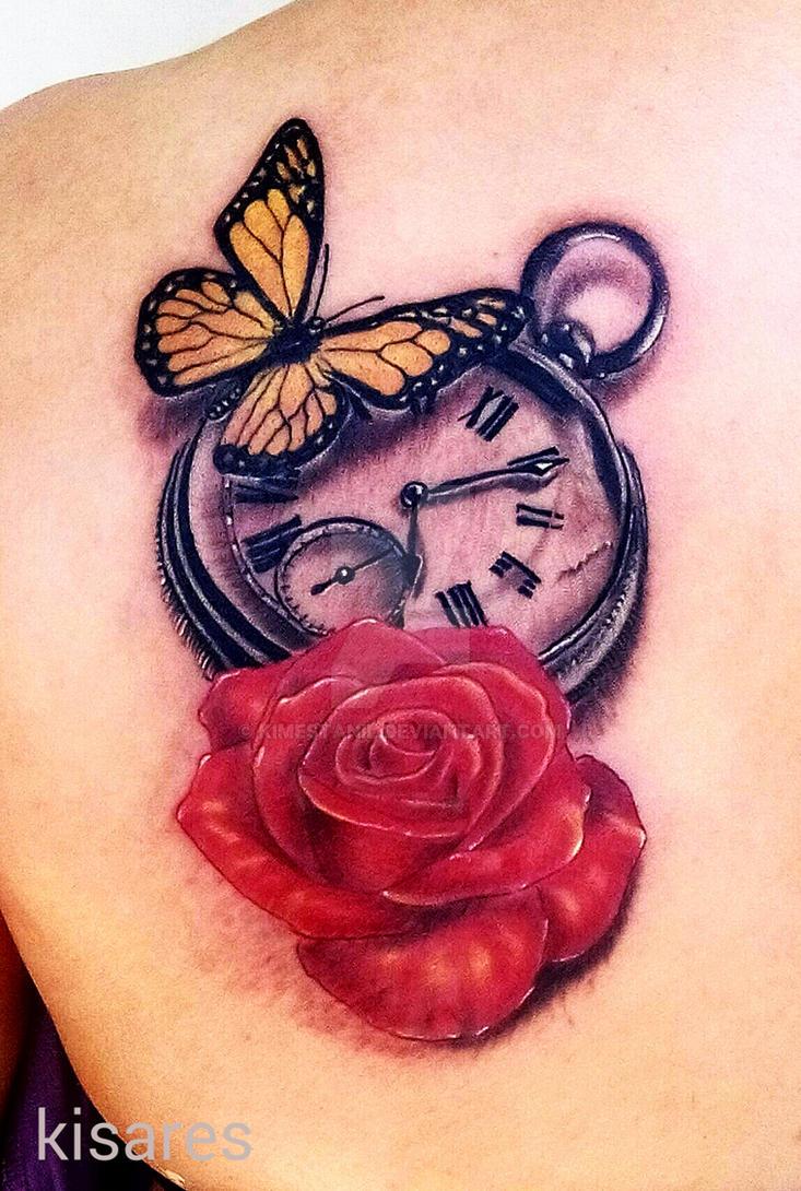 Butterfly clock rose tattoo by kimestanil on DeviantArt