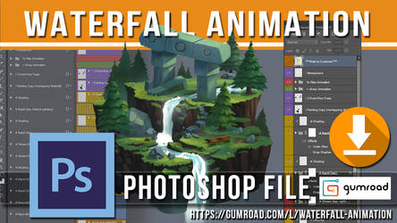 2D Waterfall Animation (PSD) Photoshop File