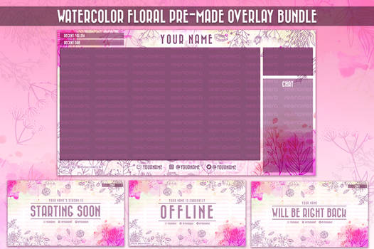 Watercolor Floral Twitch Overlay Bundle