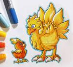 INktober Day 5 - Chicken! Torchic/ Chocobo