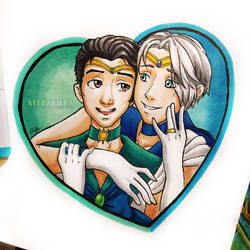 Inktober day 9 - Precious! Victor and Yuri! by VeenaViera