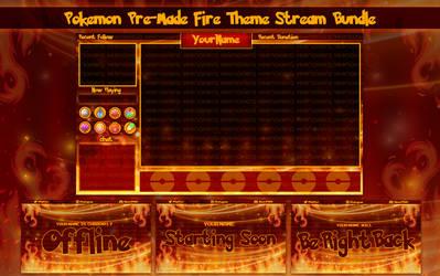 Pokemon Let's Go, Fire Theme Stream Overlay Bundle by VeenaViera