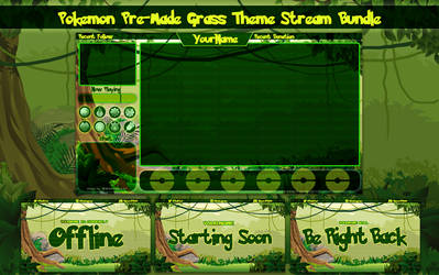 Pokemon Let's Go Grass Theme Stream Overlay Bundle by VeenaViera
