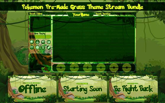 Pokemon Let's Go Grass Theme Stream Overlay Bundle