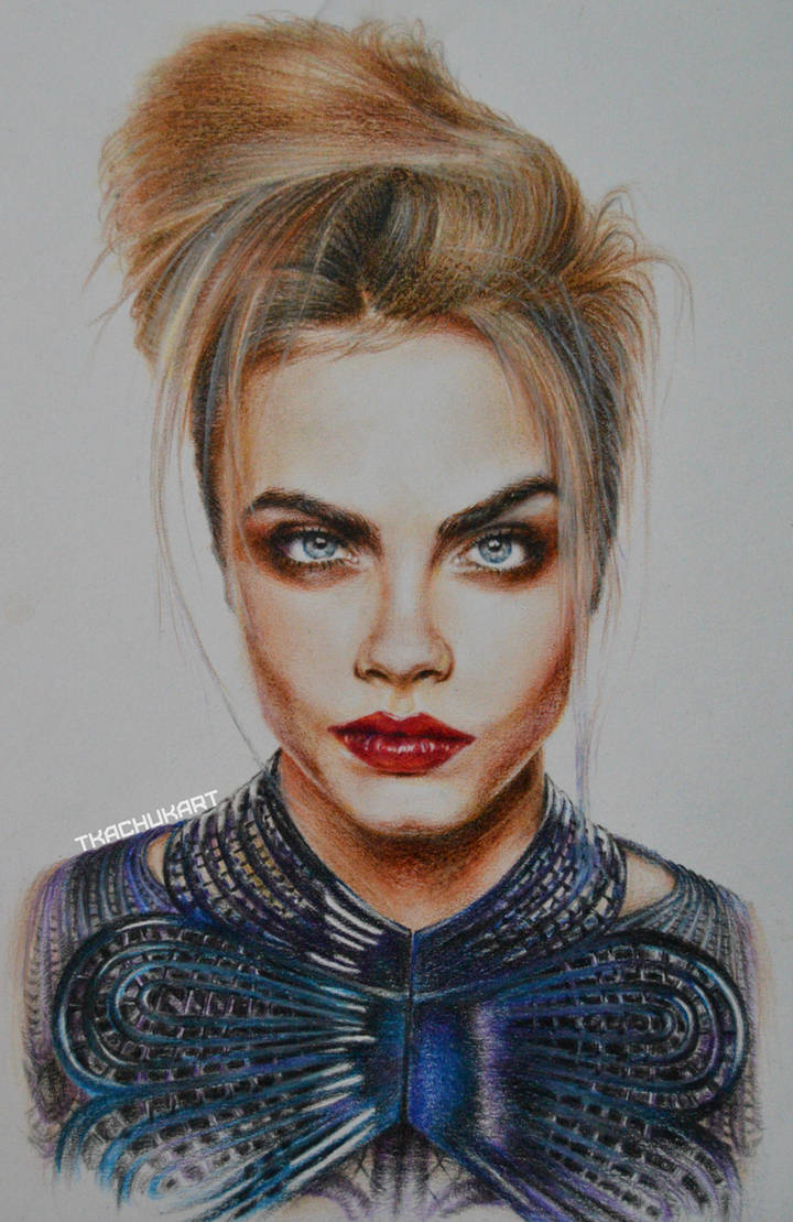 Cara delevingne watercolor pencil portrait by tkachuk anastasiya on