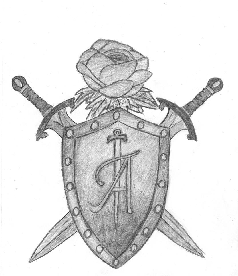 Clip Art of Shield and dagger k19242048 - Search Clipart ...