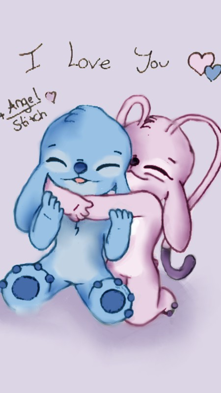 Stitch And His Girlfriend Love Angel and stitch- i love you