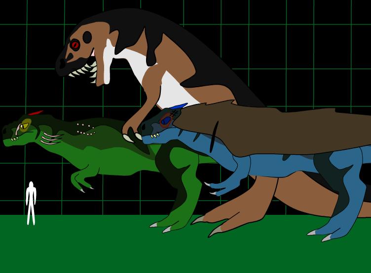 Amalgamverse: The various T.rexes by candelediva