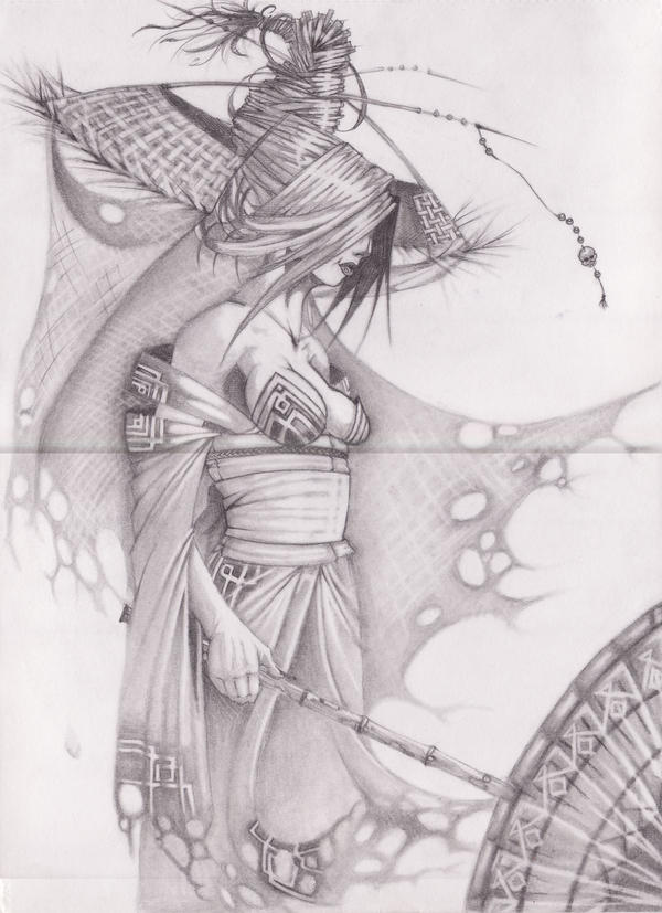 ghost geisha pencil by fullmetaljack on deviantart