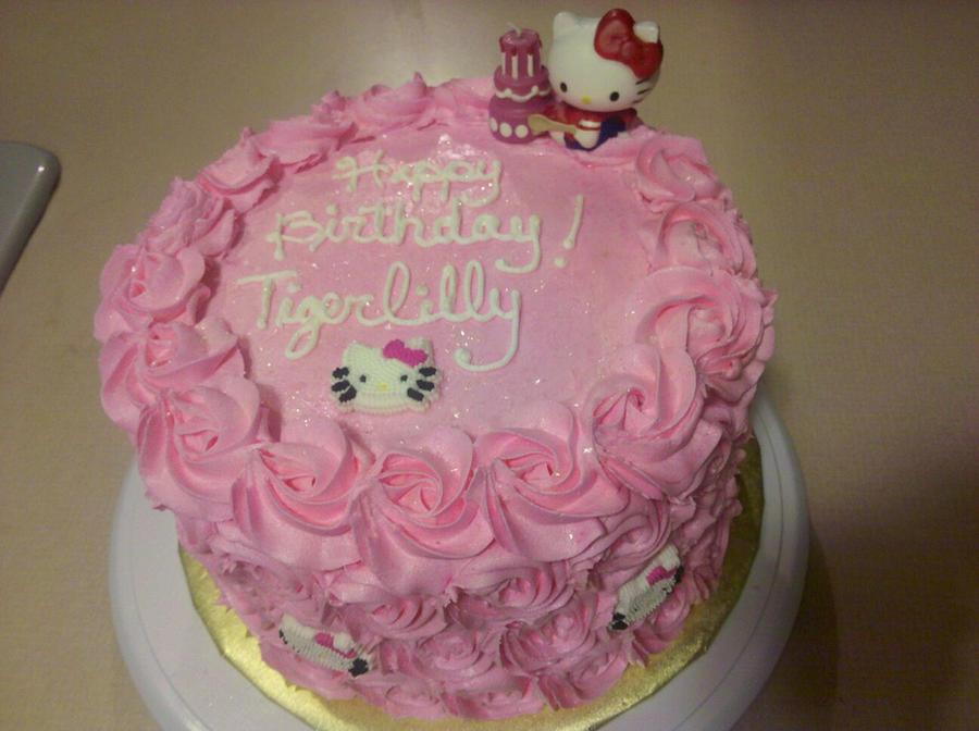 Hello Kitty Pink Rosette Birthday Cake by missblissbakery on DeviantArt