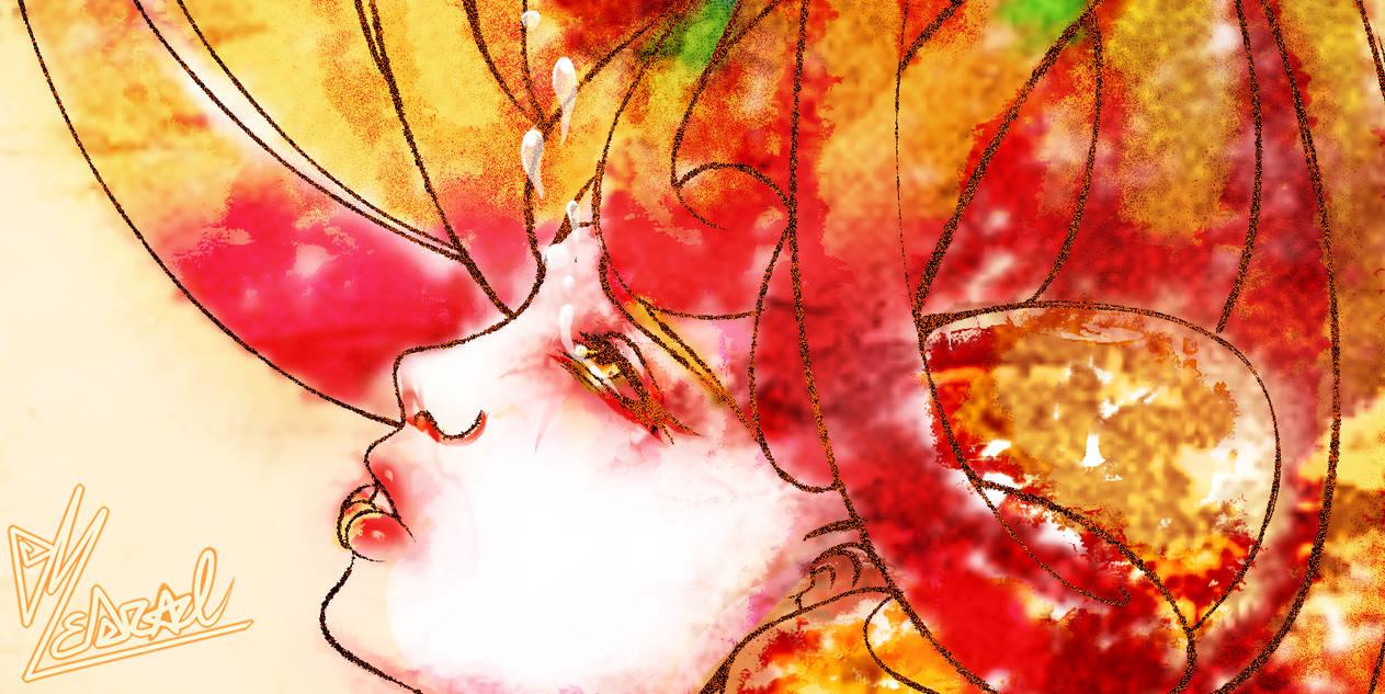 Watercolour Cosmos closeup
