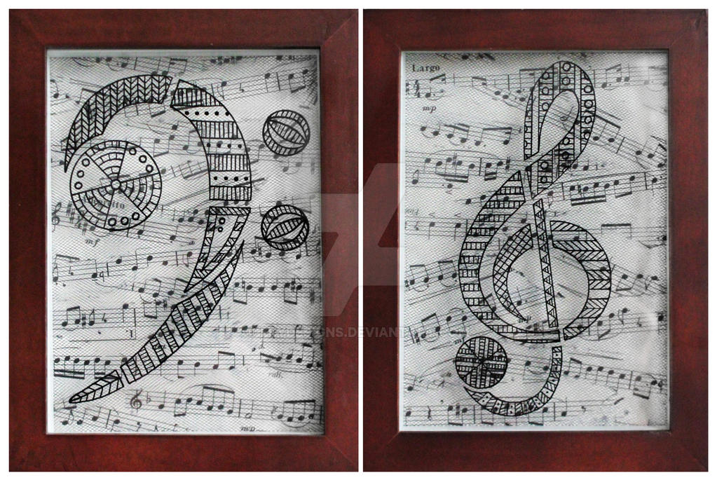 Bass Clef and Treble Clef Diptych by frydesigns