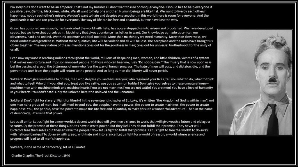 پیام چارلی چاپلین به جهانیان