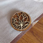 Wooden pin badge or pinback button Lotus
