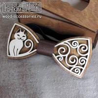 Wooden bow tie Cat by v-vasilinka
