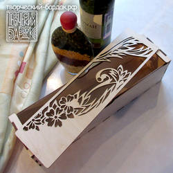 Carved wooden gift wine box Flower Wreath