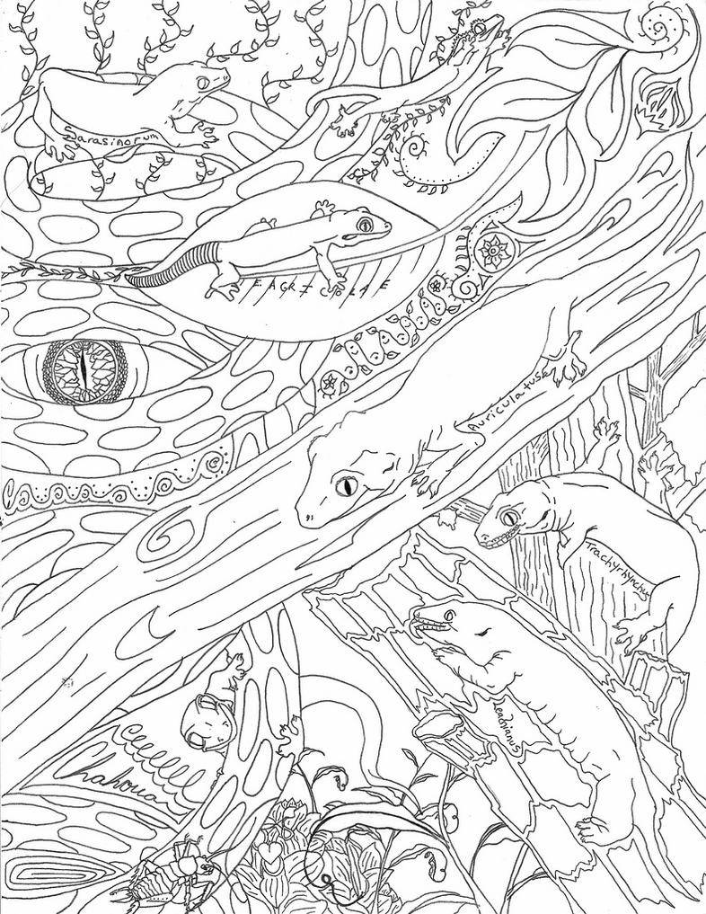 New caledonian gecko line drawing by landgart on deviantart for Gecko coloring pages
